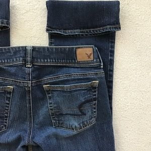 AMERICAN EAGLE KICK BOOT STRETCH SIZE 4 SHORT BLUE